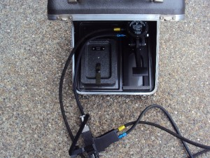 integral foot pedal inside case