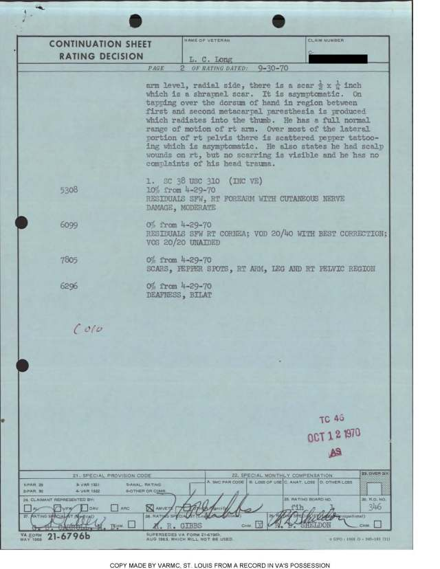 Long Rating sheet 1970 pg 2