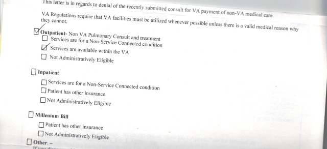 First non-VA care denial letter received | Asknod Veterans Claims Help